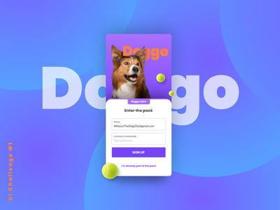 Daily Challenge #1 Sign Up - Doggo Store sign in page dayli ui 1 1 dailyui user interface daily 100 challenge mobile ui mobile dog sign up signup