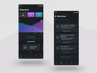 Services App mobile dark dashboard user interface ux ui app services