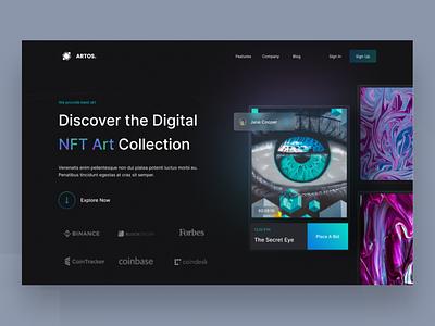Artos - NFT Landing Page header landingpage ux uidesign ui userinterface user experience motion graphics graphic design crypto nftmarketplace nft