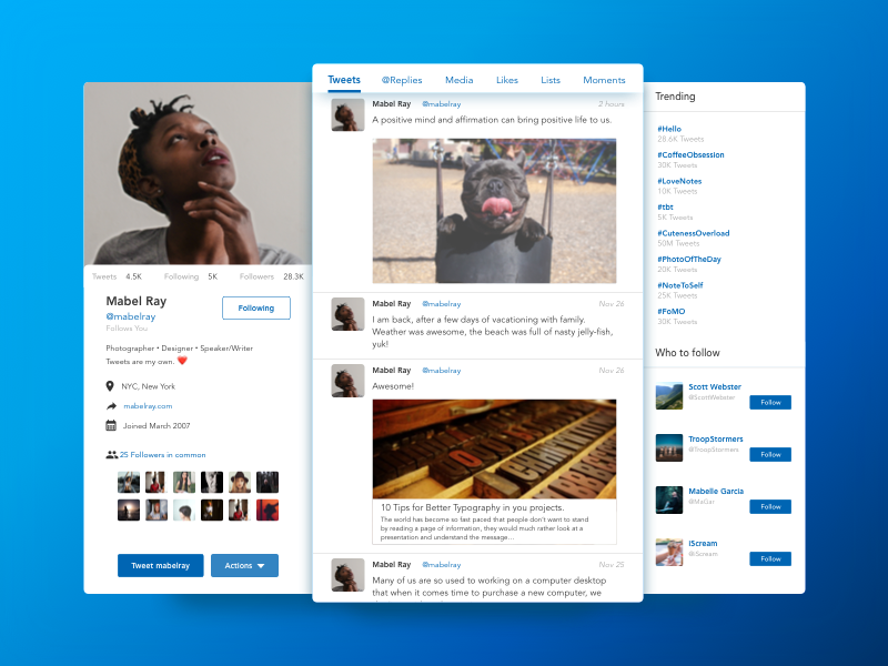 Twitter profile dribbble shot