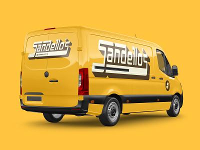 Sandello's Brand Identity - Work Vehicle Mockup sports baseball cards retro ligatures brand identity graphic design design vector branding typography type lettering logo