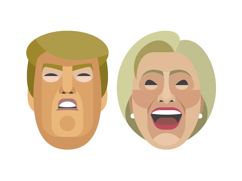 Trump & Hillary faces vector portrait vote election presidential hillary trump