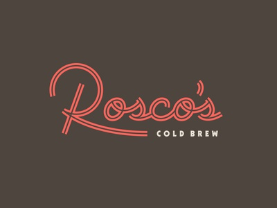 Rosco's cold brew coffee inline script lettering typography type