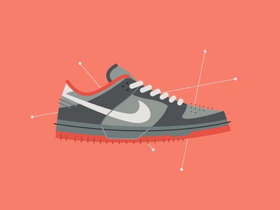 """The """"Pigeon"""" sneakers poster print vector abstract mid century illustration staple nyc pigeon dunk nike"""