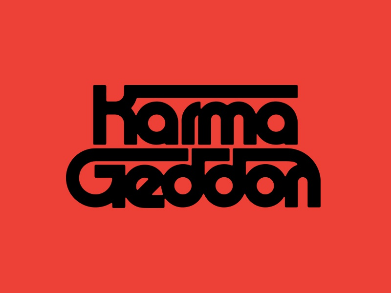 KarmaGeddon retro industrial vector logo branding monoweight custom typography type ligatures lettering