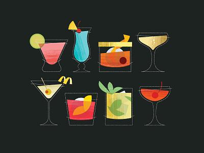 Charlie Kitsch Cocktails tiki alcohol drinks cocktails orlando print decor kitsch mid century modern mid century retro illustration