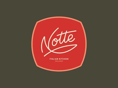 Notte Italian Kitchen script logotype design ligatures custom branding type logo lettering vector typography