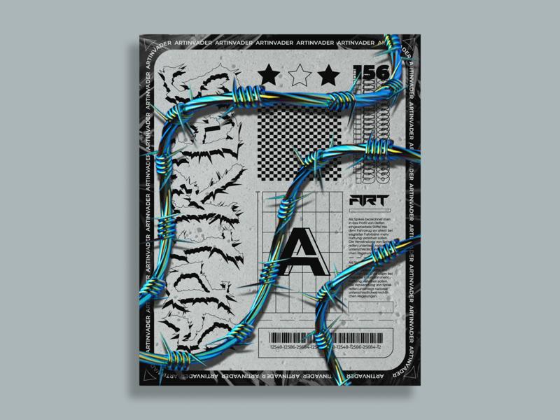 Artinvader Project  156 posterart typography holographic visual art print octane modern iridescent grapicdesign design poster grapic c4dart c4d blender artwork art adobe abstract 3d