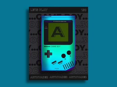 Artinvader Project 158 retro 90s holographic iridescent aftereffects video gameboy octane motion design motion modernart cinema4d c4dart c4d blender typography loop animation adobe 3d