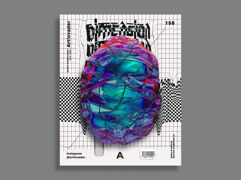 Artinvader Project 158 graphic graphic design artwork design modernart adobe grunge checkered typogaphy octane cinema 4d photoshop c4d 3d stone abstract art