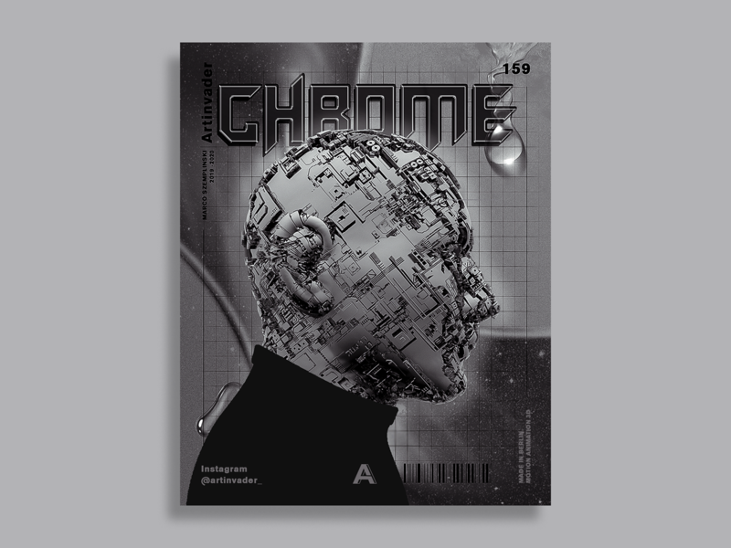 Artinvader Project 159 graphic graphic design print space chrometype chrome human poser machine cinema 4d adobe design poster modernart artwork art c4d 3d