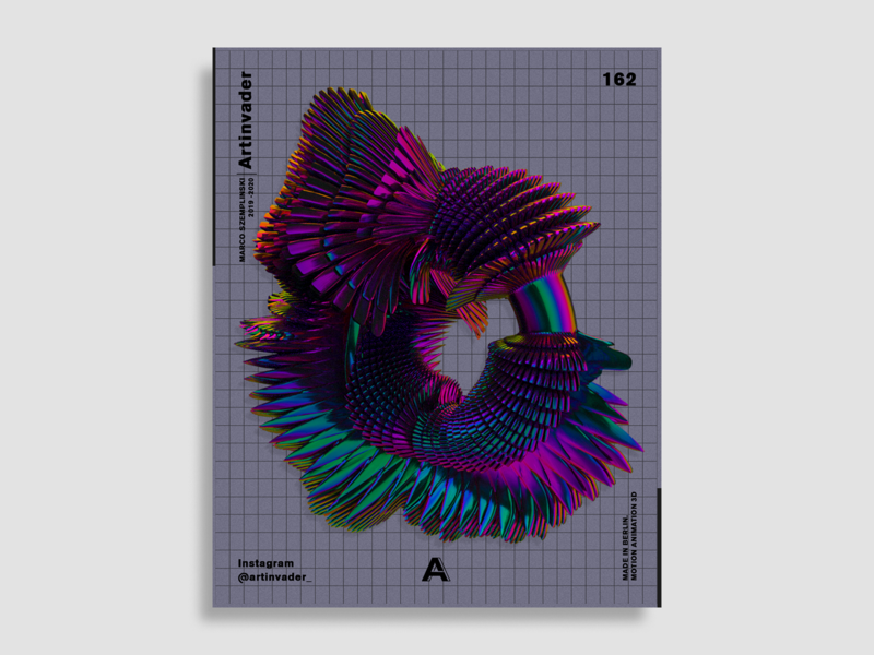 Artinvader Project 162 adobe spikes ring octane holographic graphic design graphic visual art iridescent print poster artwork art modern blender cinema 4d c4d abstract shape abstract 3d