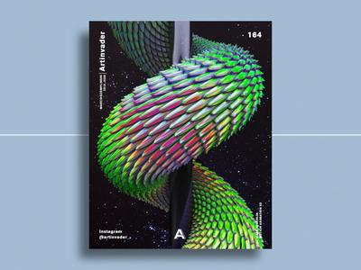 Artinvader Project 164 after effects visual art octane graphic design graphic design iridescent stars blender video loop space snake motion animation artwork art c4d cinema 4d 3d