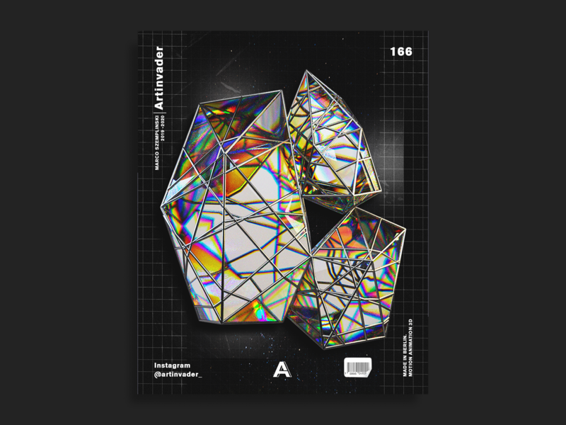 Artinvader Project 166 photoshop black adobe octane modern print graphic design graphic design artwork art poster space iridescent crystal cinema4d c4d 3d