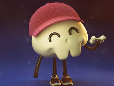 cute skull monster 3d monster 3dskull skull 3dcharacter 3d art cinema4d character design