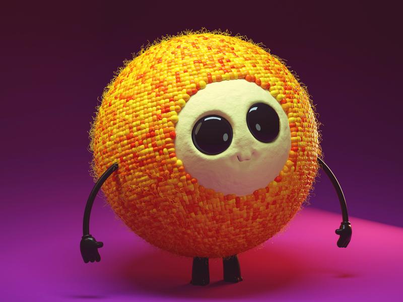 sphere cute monster cute monster cute character avatar monster 3dcharacter 3d cinema4d character
