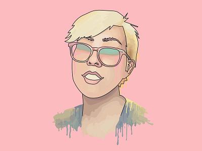 Selfie bleeding eyes paint drips head disembodied line face vector illustration