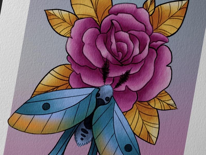 Moth & rose style neotraditional tattoodesign tattooart tattoo goldleaf goldleaves pinkrose rose gold teal pink art flowers flower floral design illustration