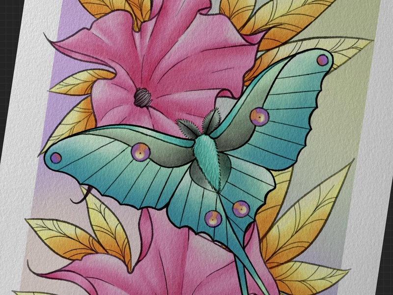 Luna moth art illustration design tattoodesign tattooart tattoo floral flower pinkflower goldleaves goldleaf gold -ink teal moon lunar moth luna