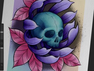 Skull flower digitalart digital procreate artwork pink purple teal skull art illustration design tattoodesign tattoo tattooart