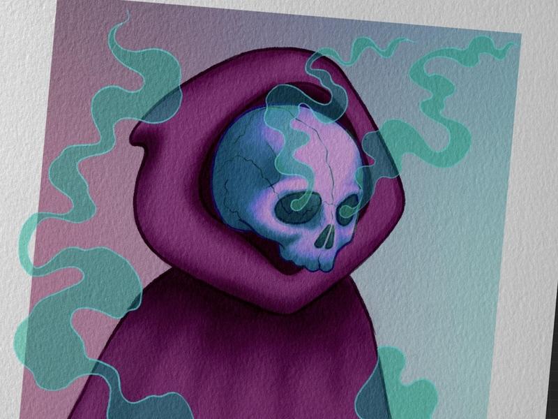 Death darkart dark art illustration digitalart digital procreate drawing artwork skull art design mauve purple teal smoke skull death