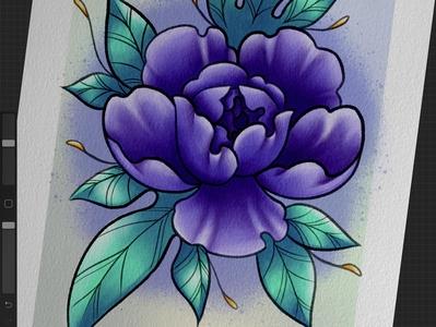 Peony orange floral peony teal purple flowers flower art illustration design tattoodesign tattooart tattoo