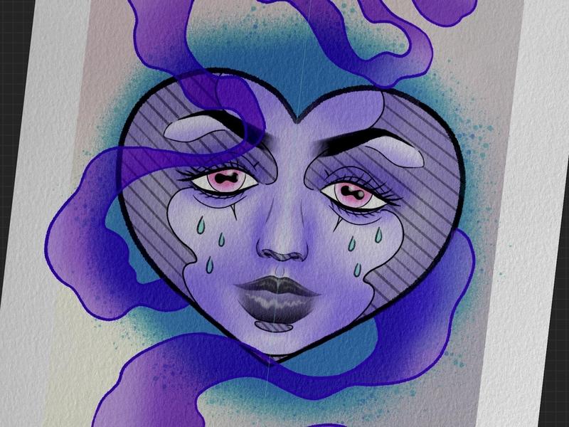 Moody heart tears smoke tattoodesign tattooart tattoo illustration design art clubs sadgirl sadgirlsclub sad pinkeyes pinkeye eyes hearts purpleheart heart moody