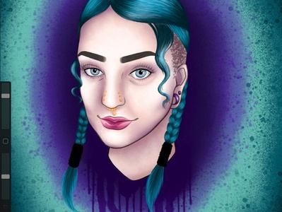 Self portrait digitalart digital splatter paintsplatter lady woman person purple teal tattoodesign art illustration design neotraditional portrait selfie selfportrait