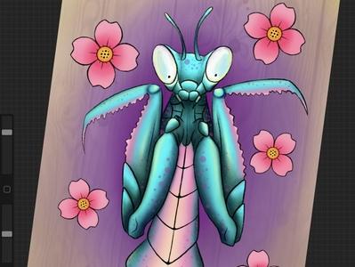 Jade mantis insect teal woodgrain jade prayingmantis mantis jademantis procreate pinkblossom blossom neotraditional pink flower floral art design illustration tattooart tattoo tattoodesign