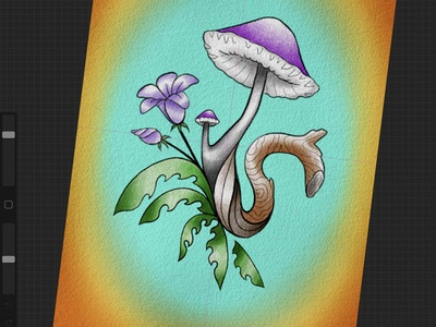 Nature doodle green brown teal orange purple neotraditional art tattooart tattoo tattoodesign illustration design wood mushroom floral flower flowers plants doodles