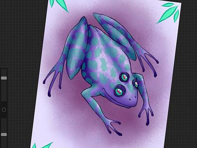 Mutant frog leopard leopardfrog spotted sketch artwork mutantfrog purplefrog amphibian frog pink neotraditional purple teal art illustration design