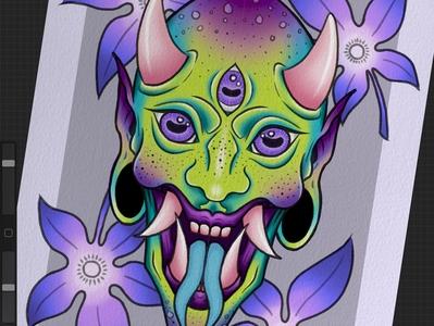 Hannya demon mask mauve green leaf maple mapleleaves japanesemapleleaves digital digitalart artwork art purple design illustration tattoo tattooart tattoodesign neotraditional hannya mask