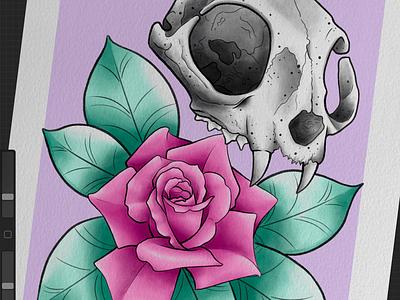 Prompt doodle art black  white black skull rose teal pink design illustration flower floral neotraditional tattooart tattoo tattoodesign
