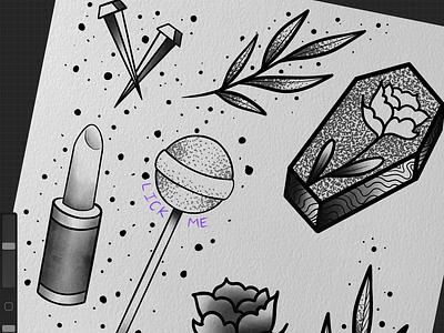 Flash art tattoodesign artwork digital flower floral neotraditional procreate blackwork dotwork apprentice tattooapprentice illustration design art tattoo