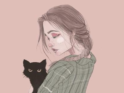 Girl & Black Cat photoshop procreate portrait illustrator girl illustration girl cat editorial illustration concept art character design