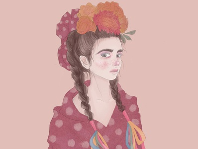 Mexican Girl portrait procreate photoshop illustrator illustration flowers girl editorial illustration concept art character design artwork