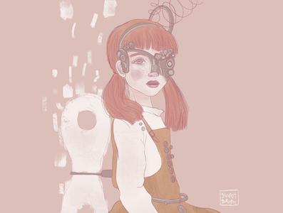 Girl Steampunk design art digital procreate portrait illustrator steampunk girl editorial illustration concept art characterdesign artwork