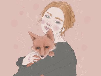 Girl & Fox pink pastel colors woman fox illustration design character design artwork procreate portrait illustrator editorial illustration concept art girl