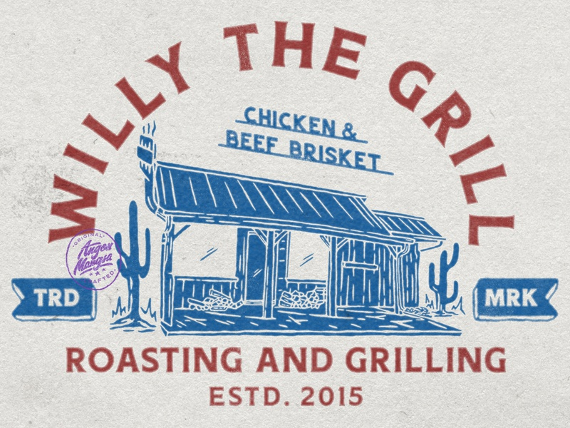 Willy The Grill meat grilling grill typography logodesign vintage design vintage badge vintage illustration hand drawn graphicdesign design branding badges angonmangsa