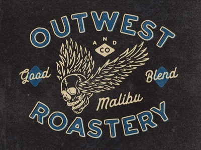 Outwest Roastery apparel merch merchandise tshirtdesign tshirt skull logo skull art skull typography logodesign vintage design vintage badge vintage illustration hand drawn graphicdesign design branding badges angonmangsa