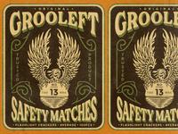 Grooleft Safety Matches trademark poster design poster safety matches eagle logo eagle typography logodesign vintage design vintage badge vintage illustration hand drawn graphicdesign design branding badges angonmangsa