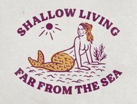 Shallow Living sunny seashore sea coast coastal mermaids mermaid vintage design vintage badge vintage illustration hand drawn graphicdesign design branding badges angonmangsa