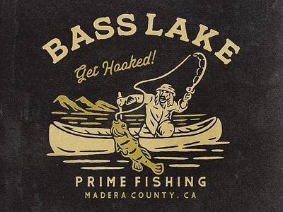 Bass Lake fishing t-shirt fishing rod fisherman hooked hobbies tshirts lakes lake bass fishing tshirtdesign vintage badge vintage illustration hand drawn graphicdesign design branding badges angonmangsa