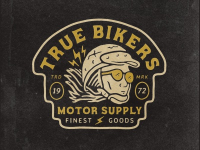 True Bikers artwork motorcycle brand tshirt tshirtdesign character girl bikers motor badge design badge vector logo illustration hand drawn design graphicdesign branding badges angonmangsa