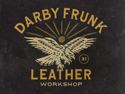 Darby Frunk Leather tshirt leather motor american eagle vintage design vintage vector logo illustration hand drawn graphicdesign design branding badges angonmangsa
