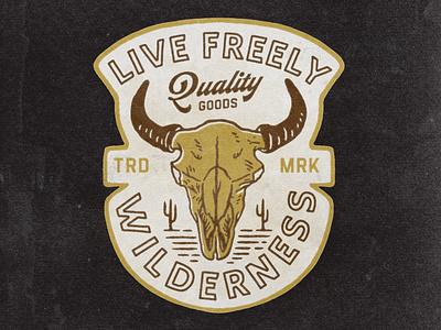 Life Freely premade merchandise merch cowboy badge logo illustration vector ui hand drawn graphicdesign design branding badges angonmangsa