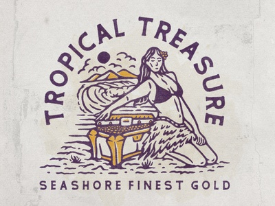 Tropical Treasure tshirt seashore sea gold hula hawaii vacation girl tropical beach ui vector logo illustration hand drawn graphicdesign design badges branding angonmangsa