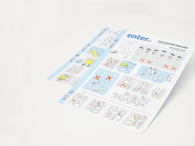 safety instruction card brand design instruction airplane