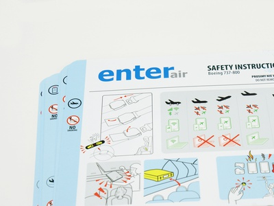 safety instruction card instruction brand airport airplane