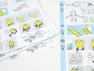 safety instruction card design brand design brand airport airplane